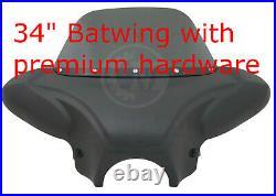 34 Universal Matte Black Batwing Fairing & Tinted Windshield w Premium Hardware