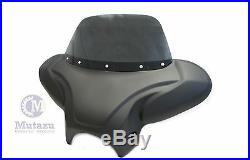 38 Universal Large Matte Black Front Batwing Fairing with Tinted Windshield