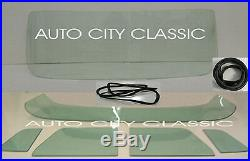 57-60 Ford Pickup Windshield Vent Door Rear Back Glass Set Green Tint Gasket Chr