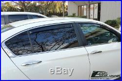 For 13-17 Honda Accord 4Dr Sedan JDM IN-CHANNEL Smoke Tinted Side Window Visors