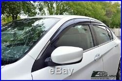 Tape-On Smoke Tinted Side Window Visors For 13-17 Honda Accord 4Dr Sedan